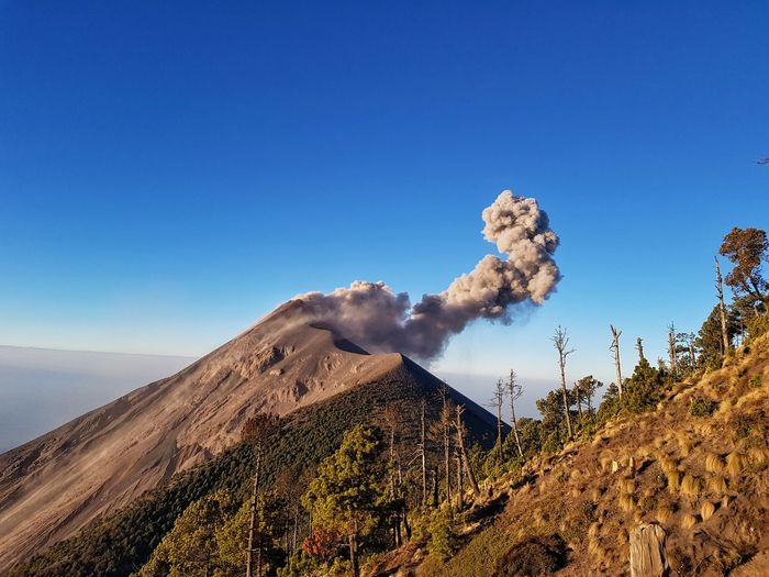 Air Pollution Beauty In Nature Blue Clear Sky Day Environment Geology Land Landscape Mountain Mountain Peak Mountain Range Nature No People Non-urban Scene Outdoors Pollution Power In Nature Scenics - Nature Sky Smoke - Physical Structure Tranquil Scene Tranquility Tree Volcano