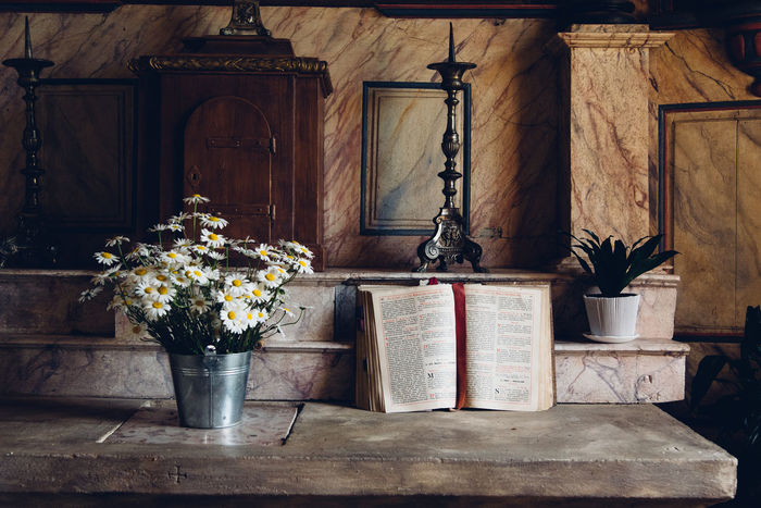 Flowerpot Cross Interior Church Book Bible Catholic Christianity Missal Spirituality Spiritual Calm God Flower Flowering Plant Plant No People Wood - Material Nature Indoors  Architecture Potted Plant Vase Built Structure Day Building Religion Place Of Worship Flower Pot Belief Altar