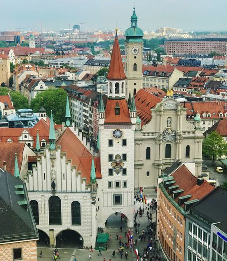 Marienplatz Building Exterior Built Structure Architecture Building City Residential District Religion Crowd Day Place Of Worship Tower Nature Spirituality Sky Belief Crowded Incidental People Town Cityscape Outdoors