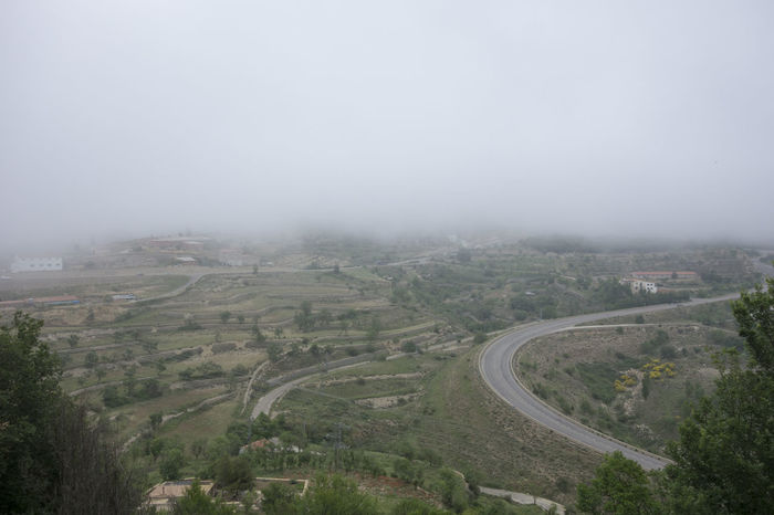 Beauty In Nature Castellón City Day Fog High Angle View Landscape Maestrat Maestrazgo Morella Nature No People Outdoors Road Sky SPAIN Tree