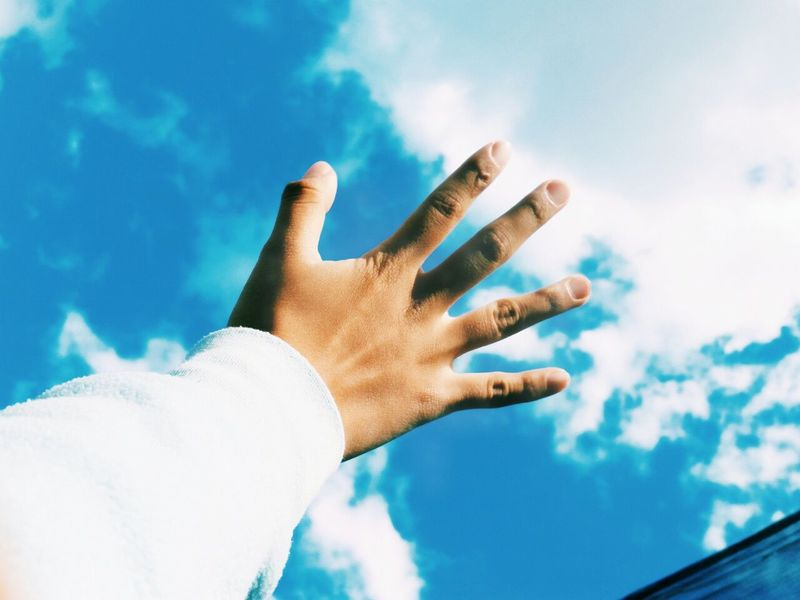 I believe I can fly. I believe I can touch the sky. Happy Sky Blusky Hand