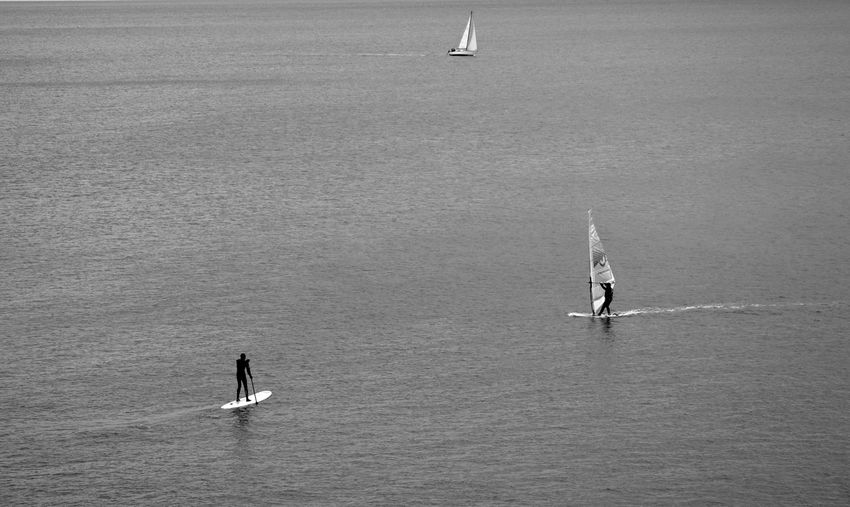 High angle view of watersport at sea