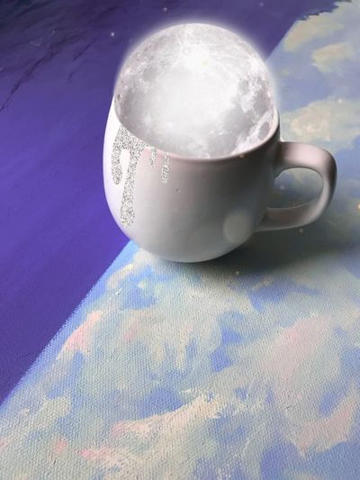 In my morning cup I found Creativity Moon Artwork By Me Art is Everywhere Artworks ArtWork Magic Cup Mug Drink Food And Drink Still Life Table Refreshment Coffee Coffee Cup Coffee - Drink Single Object Tea Cup Hot Drink
