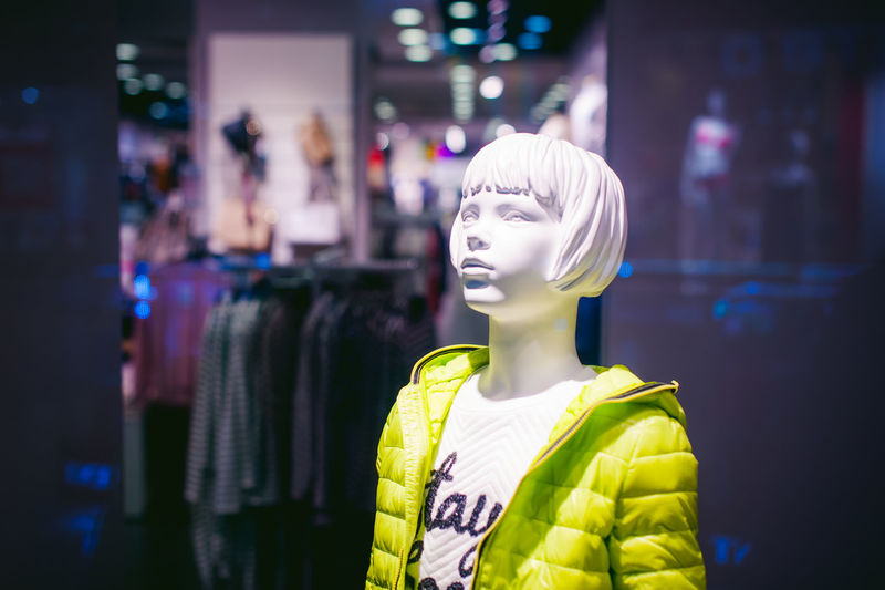 Close-up Clothing Store Consumerism Day Fashion Female Likeness Focus On Foreground For Sale Human Representation Incidental People Indoors  Mannequin Retail  Retail Display Statue Store Store Window Text