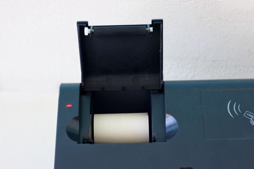 Close-up Dark Blue Indoors  No People Point Of Sale Receipt Red Led Technology Thermal Paper Thermal Printer White Background Close Up Technology