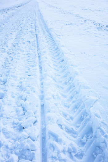 Backgrounds Blue Close-up Cold Temperature Day Full Frame Nature No People Outdoors Ski Track Skidmarks Snow Trace White Color Winter