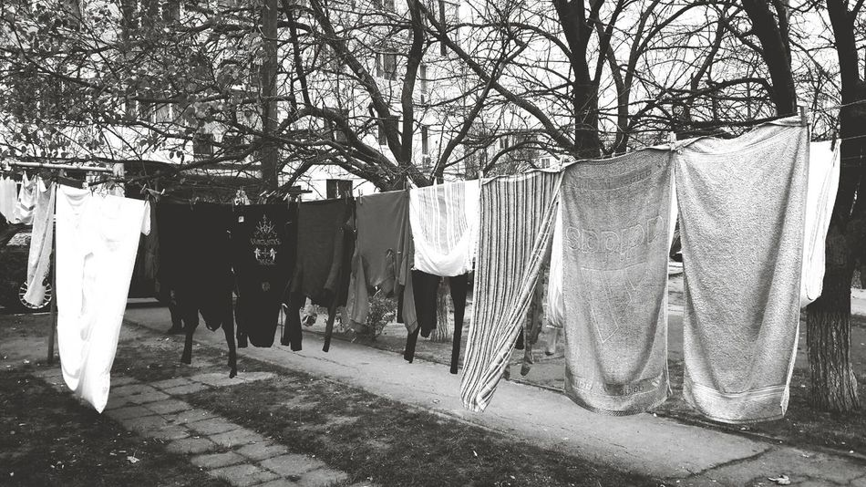 No People Black And White Everyday Life Drying Laundry Drying Clothes