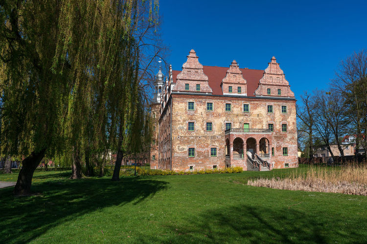 Castle in Polska Cerekiew, Poland Polska Cerekiew Poland Castle Groß Neukirch Architecture Built Structure Building Exterior Plant Tree Nature Grass Building Sky History Blue The Past Clear Sky Day No People Travel Destinations Lawn Sunlight Residential District Green Color Outdoors