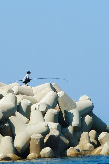waiting.. Fishing Fisherman Breakwater Sky Bluesky