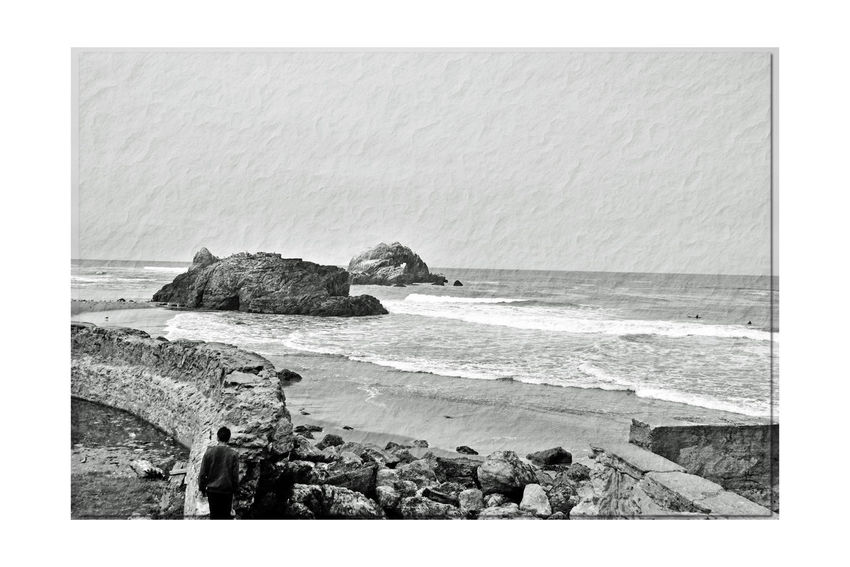 Sites Along Coastal Trail 17 San Francisco CA🇺🇸 Lands End Sutro Bath Ruins  Pacific Ocean Bnw_friday_eyeemchallenge Bnw_the View Ocean View Large Rocks Man Climbing Ruins Monochrome_Photography Monochrome Tide Horizon Over Water Sea Beach Sand Scenic Nature Beauty In Nature Nature_collection Black & White Black & White Photography Black And White Black And White Collection  Landscape_Collection