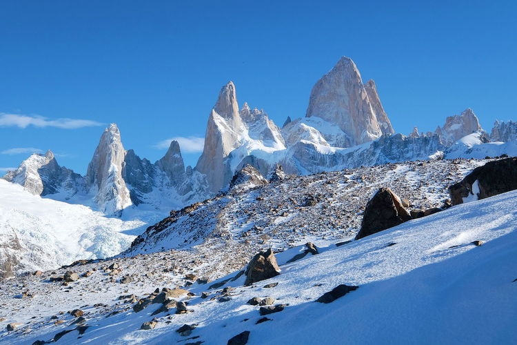 Mount Fitz Roy Hiking Landscape Lost in the Landscape Scenics Beautiful Patagonia Argentina Mount Fitz Roy Mountain Snow Cold Temperature Clear Sky Winter Snowcapped Mountain Mountain Peak Blue Sky Mountain Range
