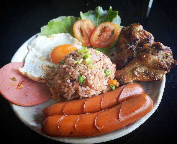 Thaifood Fried Rice Egg Yolk Fried Egg Meat Gourmet Plate Egg Rice - Food Staple