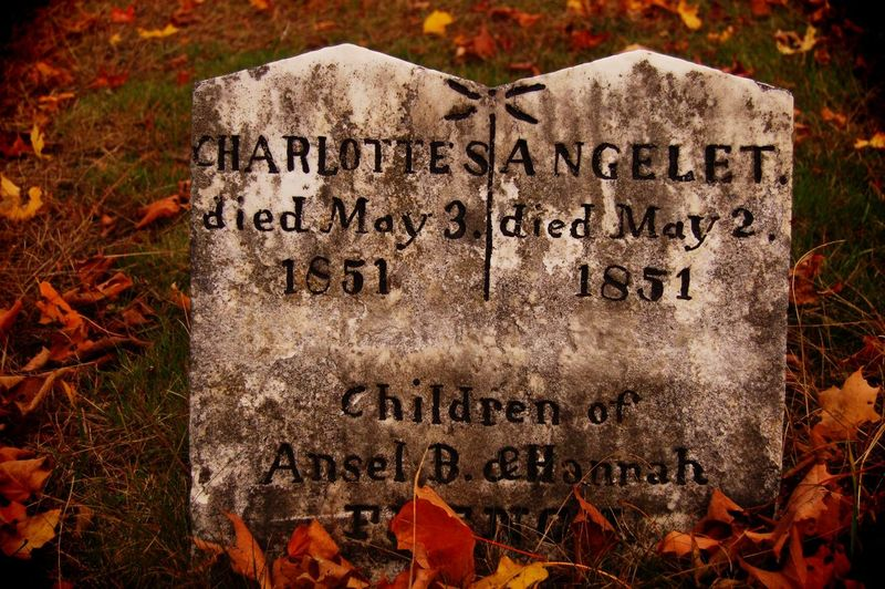 """'Marked Graves"""" 2015 digital photography 2015  Autumn Children Colored Death Graffiti Marked Morbid Mourning Writing Cemetery Close-up Curiosity Defaced Fall Grave Gravestone History Leaves Memorial Remembrance Sadness Stone Text"""