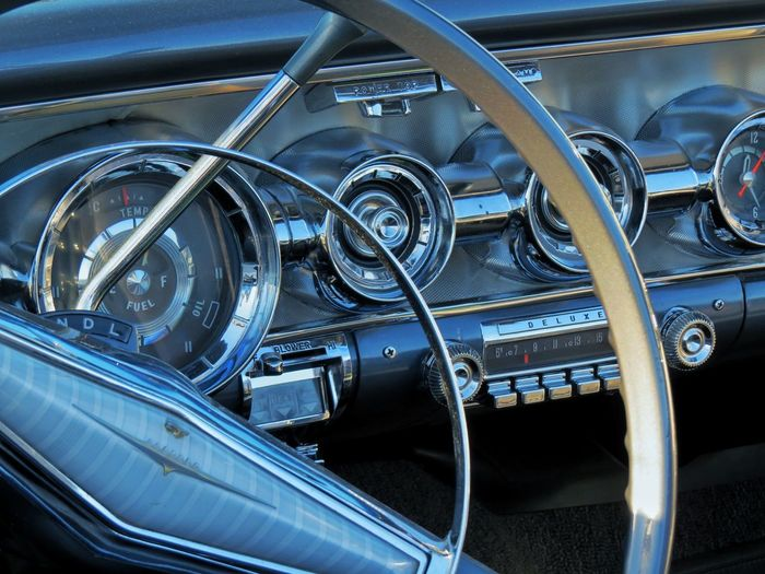 Car Mode Of Transportation Motor Vehicle Transportation Land Vehicle Car Interior Close-up Metal No People Dashboard Engine Control Panel Vehicle Interior Steering Wheel Indoors  Vehicle Part Blue Vintage Car Technology Day Luxury Chrome Wheel Clean