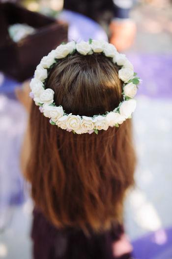High angle view of tiara on bride
