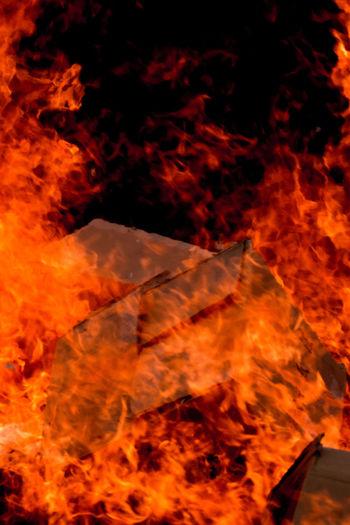 flaming carton -Japanese shrine event- Box Carton Dondoyaki Festival Fire Flame Holly Red