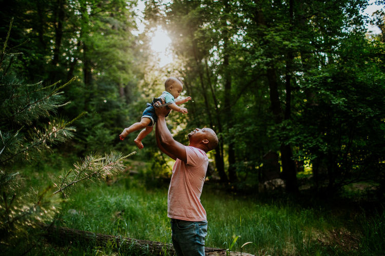 Father and son on tree