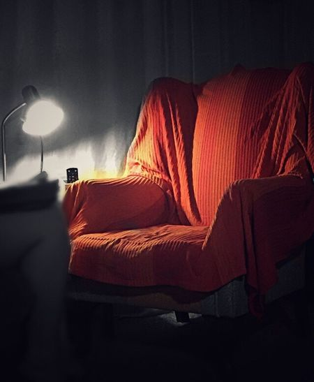 No People indoors. Loneliness. Evening. Peace. Silence. Calm. Light. Colour. Red. Warmth. Chair Furnitue Language Of Colour Hello World Sunday Night Quiet Time Home Is Where The Art Is
