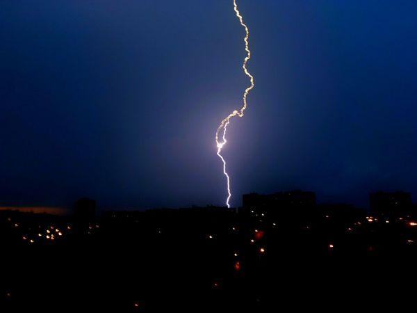 gotcha, beauty! Stormy Sky Lightning Thunder Illuminated Storm Cloud City Cityscape Storm Danger Rain Extreme Weather Rainy Season