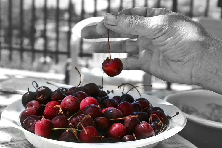 Cherries Fruit Cherries Red Passion Black And White With A Splash Of Colour Red Fruits Loving Nature Beauty In Nature Close-up Hand Sicilia Love Fruits Showcase June Live For The Story Place Of Heart