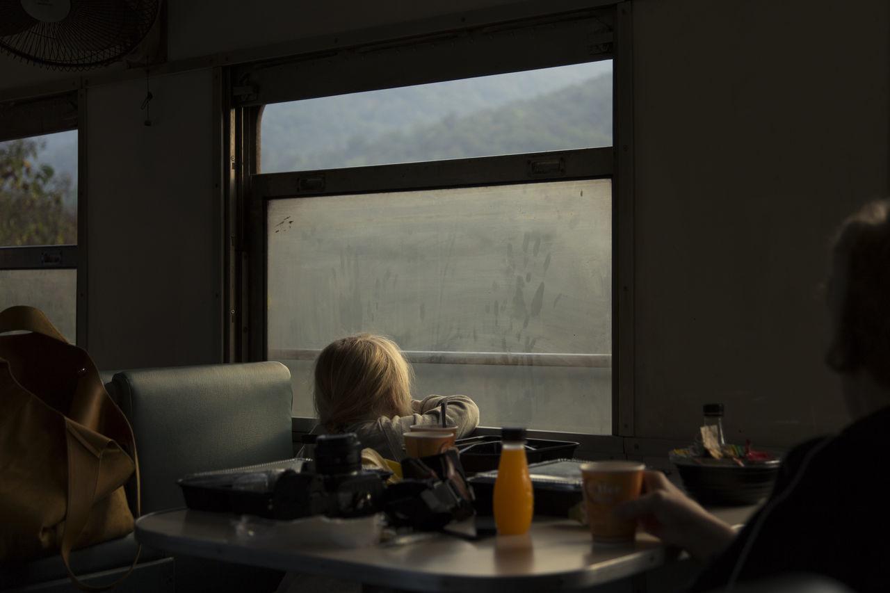 sitting, table, real people, indoors, window