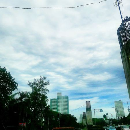 Cloud - Sky Sky Building Exterior Tree Growth Built Structure City Architecture Outdoors Nature Skyscraper Cityscape Urban Skyline Low Angle View City Life EyeEm Eyeemphoto Downtown District People And Places People Traffic Lights Urbancity Adapted To The City