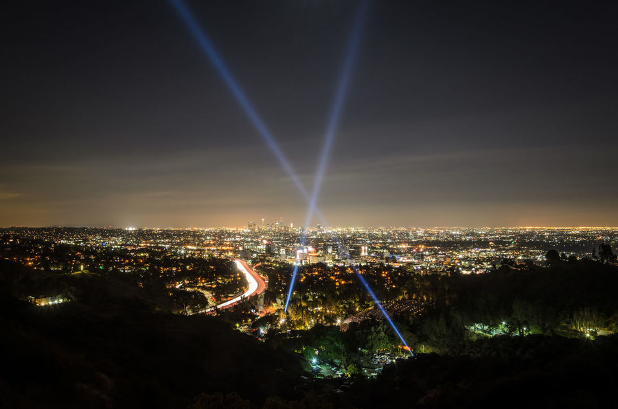 Hollywood Bowl Hollywood Bowl Scenic Overlook Light Pollution Night Lights Night Photography Beams Of Light City Cityscape Illuminated Night EyeEmNewHere California Dreamin HUAWEI Photo Award: After Dark