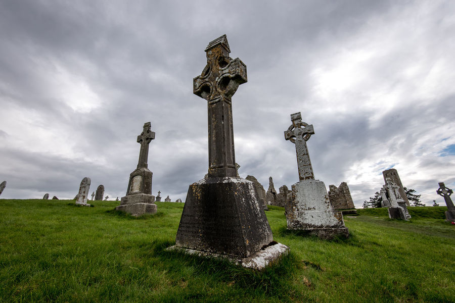 Celtic Cross Cemetery Cloud - Sky Day Grass Gravestone Graveyard History Ireland Ireland🍀 Memorial No People Old Ruin Outdoors Sky Spirituality The Past Tombstone Travelireland Travelphotography