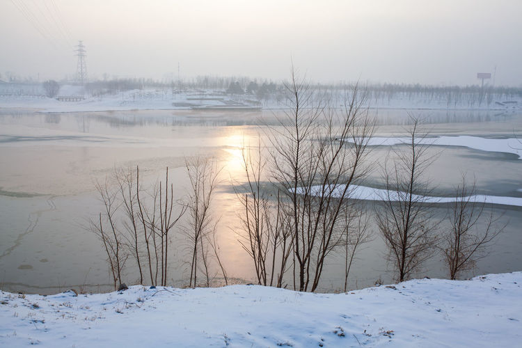 Water Snow Cold Temperature Mountain Winter Sunset Lake Frozen Water Frozen Fog