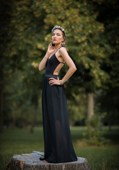 Beautiful Young Woman Posing At Park