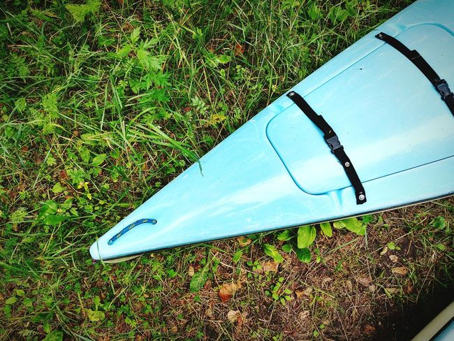 Kayak in grass High Angle View Grass Nature Outdoors Kayak Cayak Watersports Leisure Activity River Boat Lithuania Nature Lgg6 Blue Green Color Summer Lithuania Aukštaitija No People Day Close-up