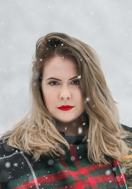 Winter Cold Temperature Snow Portrait Adult Long Hair Warm Clothing Beautiful Woman One Woman Only One Person Beautiful People Adults Only Headshot People Beauty Christmas Only Women Young Adult Red Front View The Portraitist - 2018 EyeEm Awards