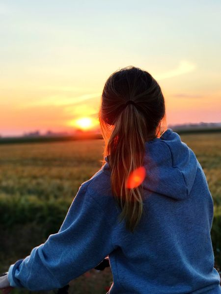 Sunset Real People Nature One Person Leisure Activity Rear View Beauty In Nature Sky Outdoors Lifestyles Field Scenics Tranquility Women Day People