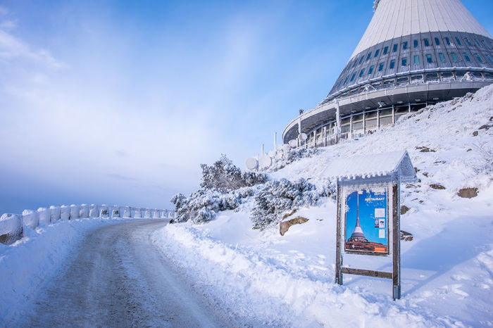 Winter views from Jested, Liberec, Czech Republic Czech TV Tower Architecture Beauty In Nature Building Exterior Cold Temperature Day Jested Liberec Nature No People Outdoors Scenics Sky Snow Tranquility Travel Destinations Weather White Color Winter