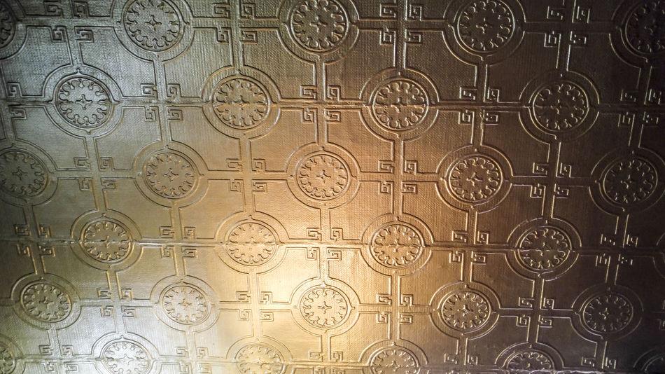 Ornate bronze pressed ceiling, Downtown Denver, Colorado, USA Backgrounds Close-up Day Full Frame Indoors  No People Ornate Pressed Ceiling
