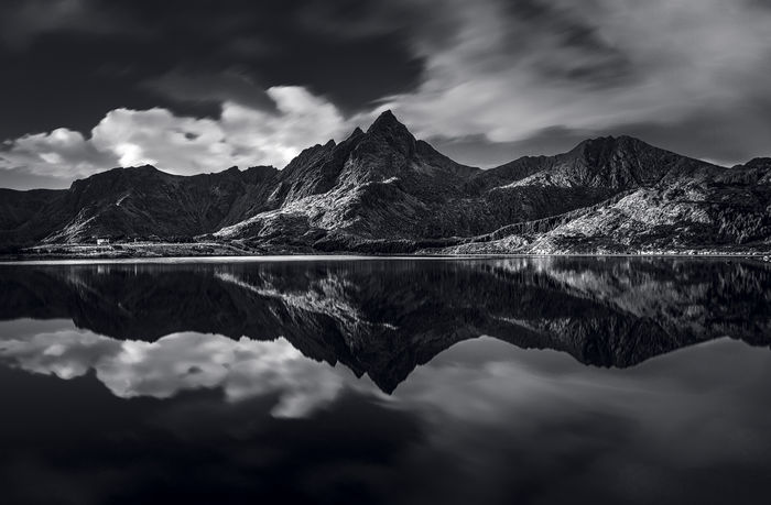 Beauty In Nature Cloud - Sky Day Lake Mountain Mountain Range Nature No People Outdoors Reflection Scenics Sky Symmetry Tranquil Scene Tranquility Water Waterfront