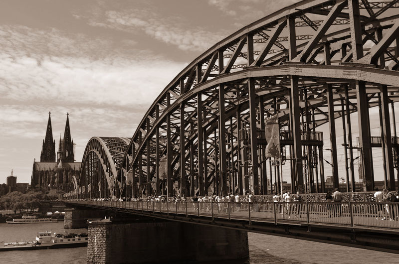 Cologne Architecture B&w Photography Black And White Photography Bridge Bridge - Man Made Structure Built Structure Cathedral City City Life Cologne Connection International Landmark Iron Bridge Outdoors River Showing Imperfection Telling Stories Differently Travel Destinations The Great Outdoors - 2016 EyeEm Awards The Architect - 2016 EyeEm Awards Your Design Story Fine Art Photography Monochrome Photography Miles Away