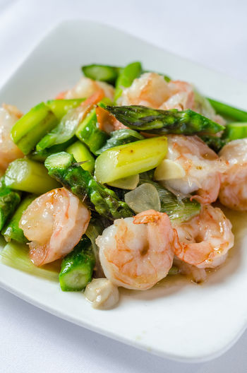 Asian  Chinese Food Meal Asparagus Food Food And Drink Foodphotography Freshness Garnish Gourmet Healthy Eating Indoors  No People Organic Plate Prawn Ready-to-eat Still Life Stirfry Table Tabletop Vegetable Wellbeing Yummy