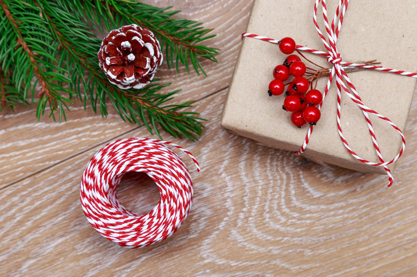 Christmas gift Christmas MAS Xmas New Year Gift Box Gift Box Suprise Present Rustic Style Rope Spruce Ribbon Wrap Decor Christmas Decoration Branch Tree Flat Lay Wooden Background Preparation  Christmas Is Coming Rustic Christmas Around The World Celebration