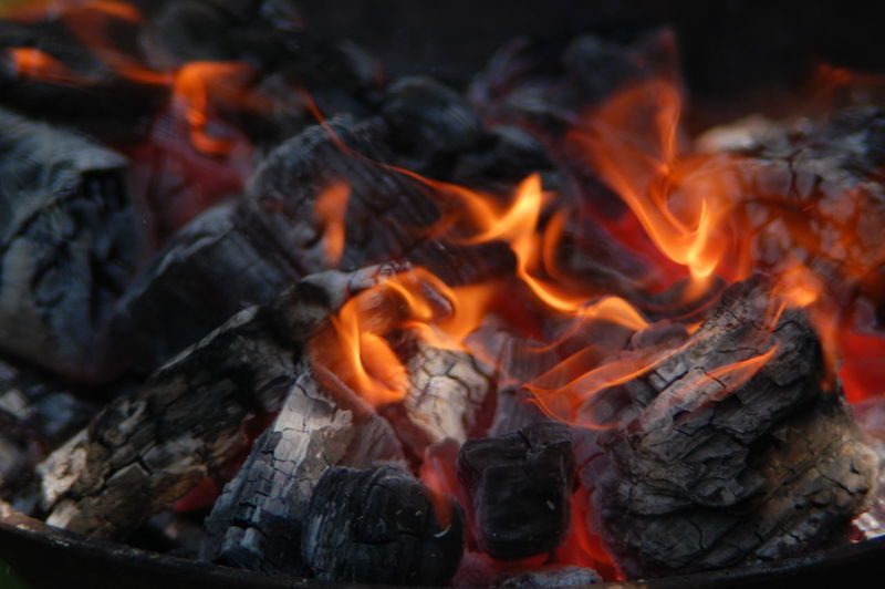 Close-Up Of Coal Burning In Barbecue