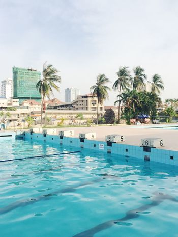 Phnom Penh Olympic Stadium Swimming Pool – Cambodia. Architecture Beauty In Nature Blue Built Structure City Cloud Day Green Color Growth Nature No People Outdoors Palm Tree Rippled Sky Swimming Pool Tranquil Scene Tranquility Tree Water Waterfront
