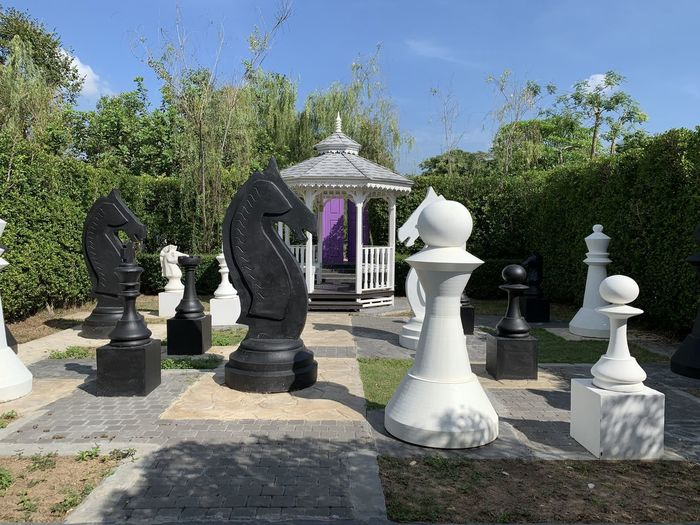 Full frame shot of chess pieces on tree against sky