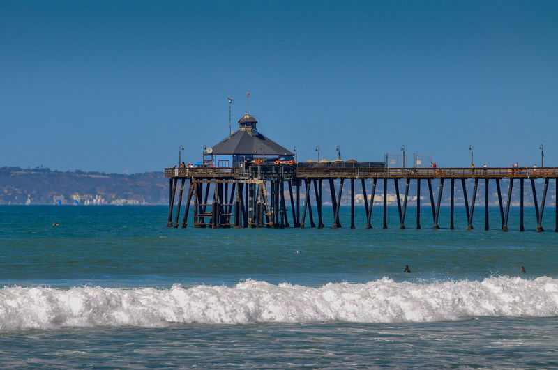 Imperial Beach, Pier, Coronado Island and Downtown San Diego Architecture Beauty In Nature Blue Building Exterior Built Structure Clear Sky Copy Space Day Imperial Beach Land Motion Nature No People Outdoors Pier Scenics - Nature Sea Sky Water Waterfront Wave Wooden Post
