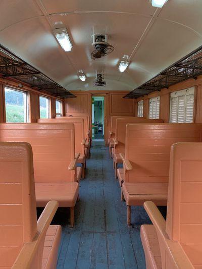 Wooden empty seat in train