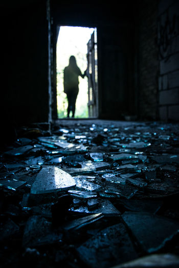 EyeEmNewHere Mystery Photography Photooftheday Art Shadow Followme Lights Glass Graffiti EyeEm Broken Glass Girl Poland Old Buildings Ruins One Person One Woman Only Women Silhouette Day