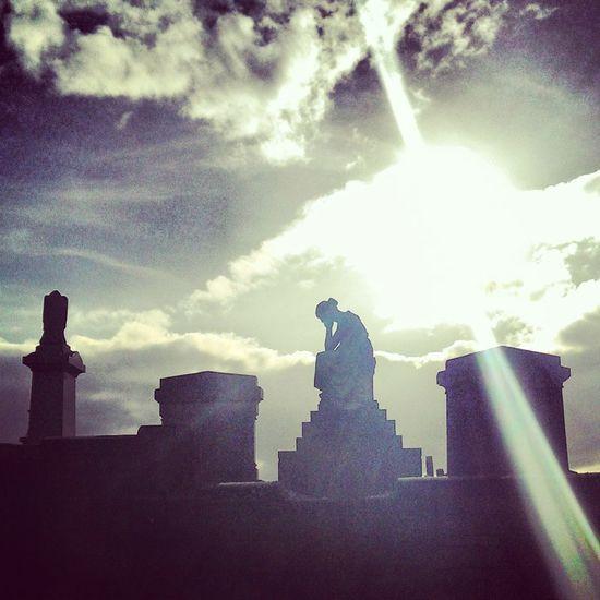 Grey Lady Graveyard Cemetery Headstones Glare Peaceful Respect Sky Light Outline Glenmavis