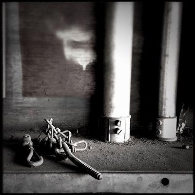 """Remnants pt.2"" of an abandoned farm machinery shop. Black And White Blackandwhite Monochrome NEM Submissions Monochrome Photography"