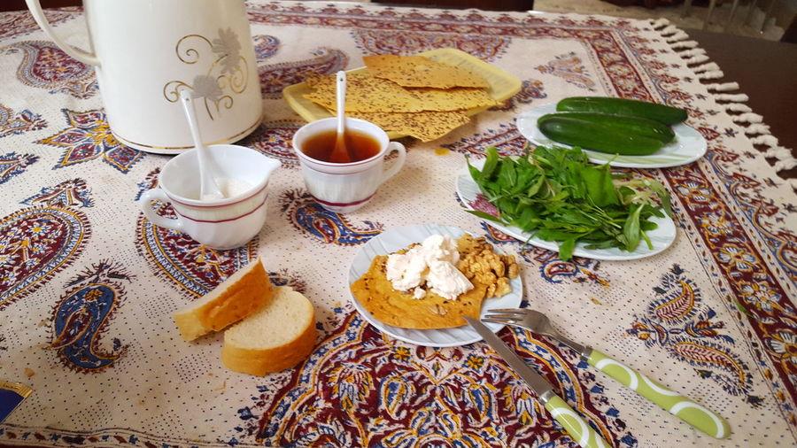 Breakfast Iran♥ Sweat Tea Bread&cheese& Walnut & Fresh Vegetables& Cucumber