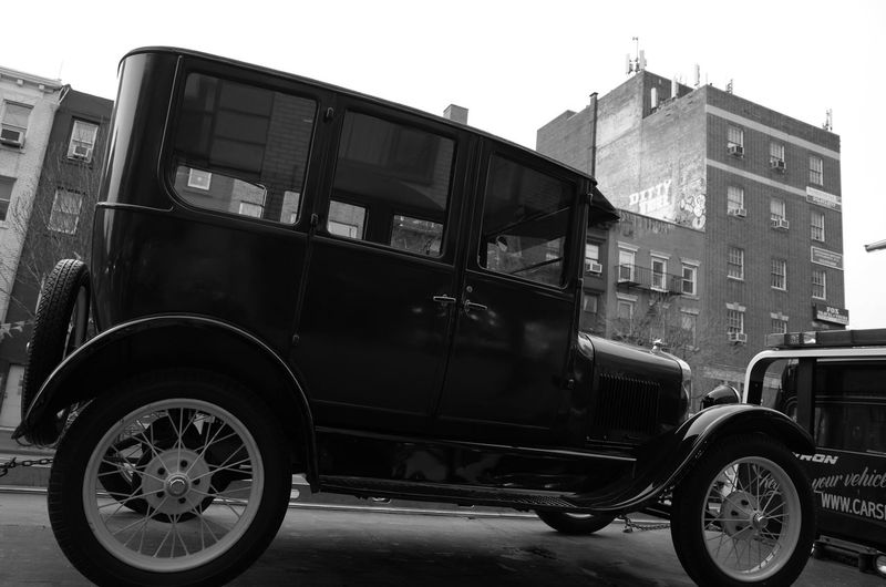 East Village, April 2014 Vintage Car Towed Eastvillage Manhattan NYC Land Vehicle The Past Transportation Streetphoto_bw Ricoh Gr 28mm