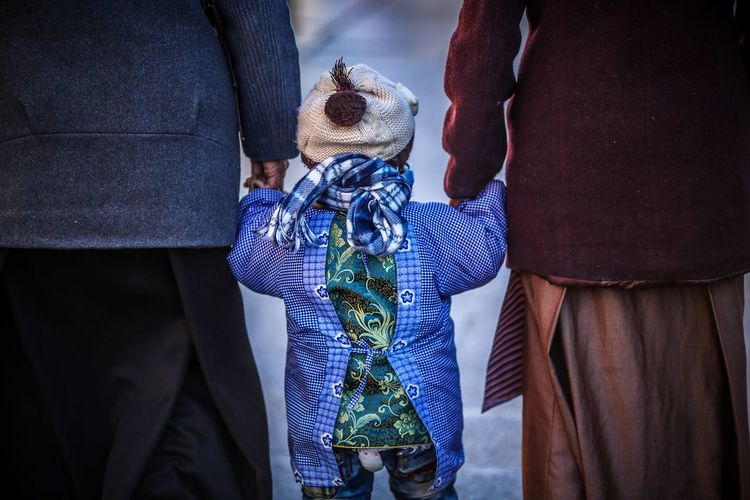 Bridegroom Childhood Close-up Day Groom Low Section Men Midsection Outdoors People Pilgrimage Real People Rear View Standing Stuffed Toy Tibetan  Tibetan Buddhism Togetherness Travel Destinations Two People Well-dressed This Is Aging This Is Family